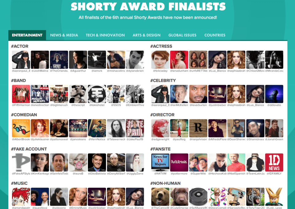 Threshold Interactive Finalists For Two Shorty Awards