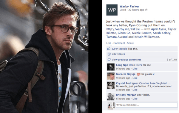 Warby Parker's Facebook page